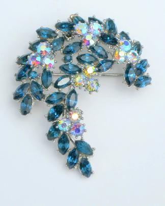 "1961 Trifari ""Radiance"" Sapphire Blue Rhinestone Brooch"