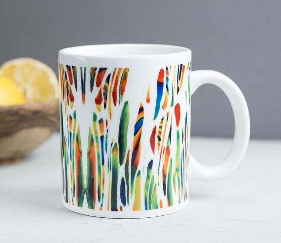 Meadow mug paint splash mug bright multicolour mug by DoodlePippin