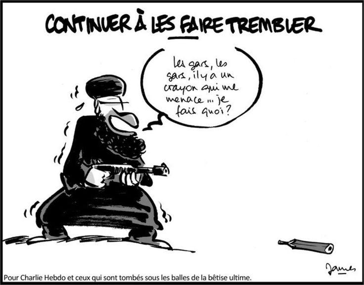 Charlie Hebdo. 7 janvier 2015, Paris. Attentat contre la liberté de la presse et la liberté d'expression. 17 victimes au total. Dessin de ?