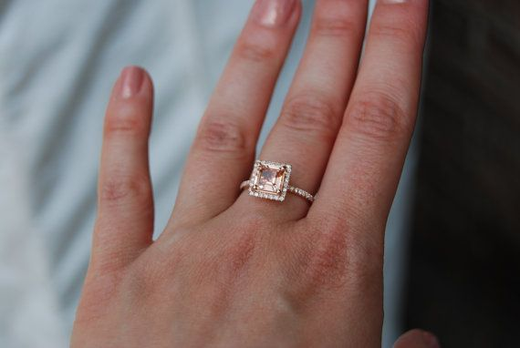 1.58ct Princess Peach sapphire diamond ring 14k by EidelPrecious, $1800.00