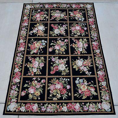 6'x9'Handmade Floral English Garden Design Roses Wool Needlepoint Black Area Rug