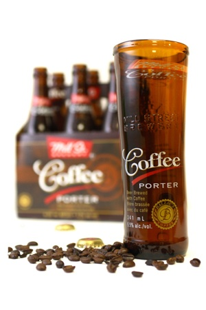 hand made upcycled blown glass coffee porter glasses