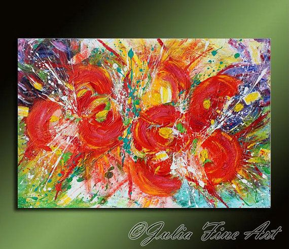#AbstractPainting #FloralArt #RedFlowers #LargePainting #Impasto, #RichTexture #SpringPainting #Colorful #Modern, #Green #WallArtDecor