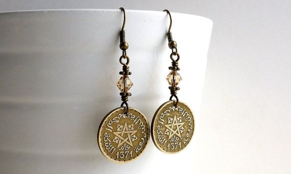 Coin earrings Morocco Coin jewelry Swarovski by CoinStories