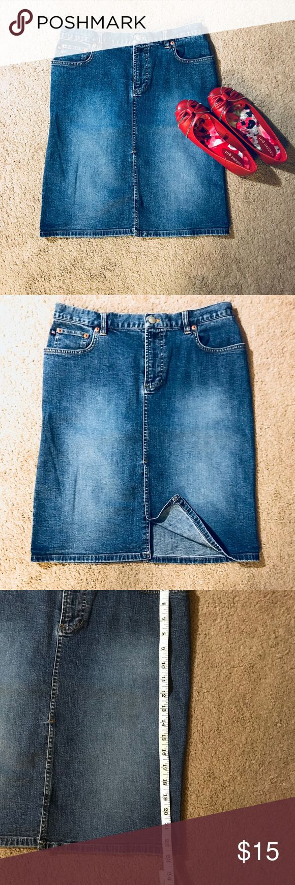 Denim skirt Stone wash denim skirt. Pre-loved. Can be paired with boots or flats. 98% cotton and 2% Lycra spandex. It's form fitting and has a little slit in the middle that was sowed together. Please feel free to ask any questions. Ralph Lauren Skirts