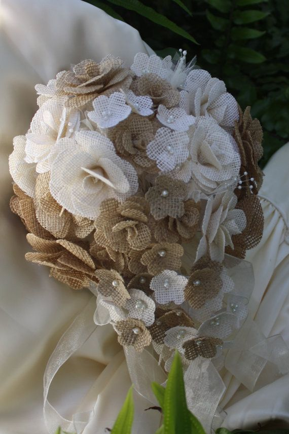 SALE - Burlap Bridal Bouquet, Burlap Roses, Large Handmade Burlap Flowers, Unique Alternative Bridal Bouquet, One-of-a-Kind Bridal Bouquet
