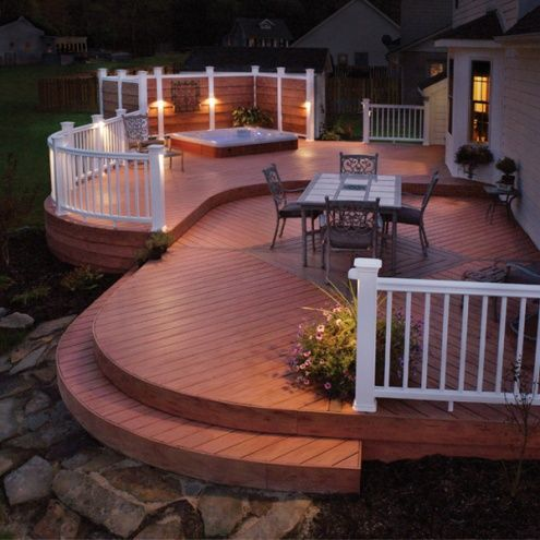 Deck with contrast painted rails and Hot Tub privacy panels