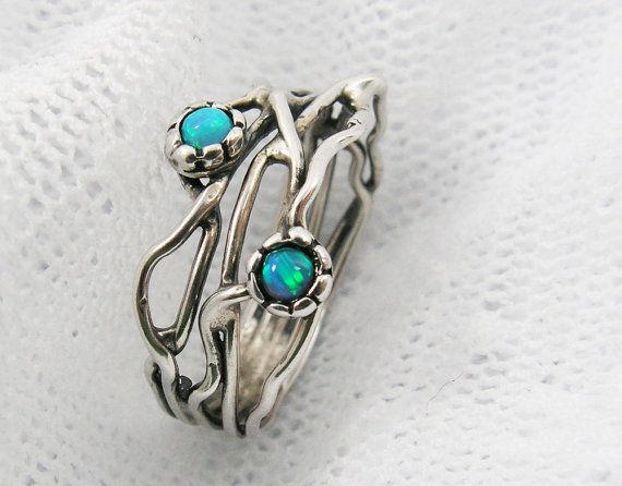 Silver Opal ring. Sterling silver organic design Opal ring. Branch ring (sr-9906) opal jewelry, gift for her, birthday gift