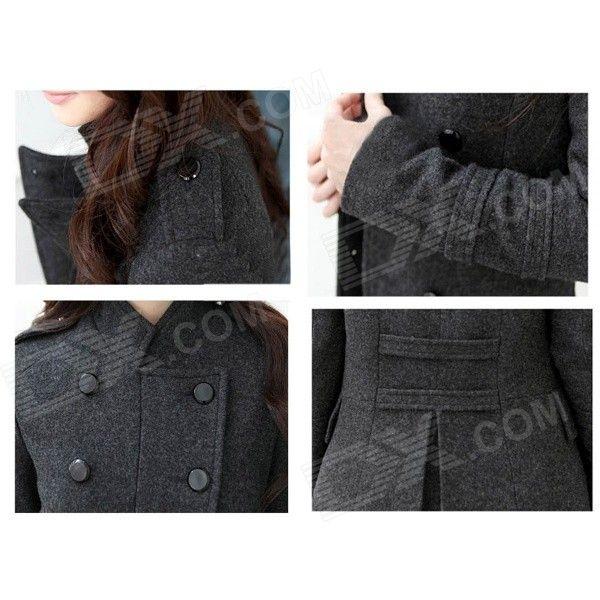 STBB-00575 Women's Trendy Medium Style Wool Coat - Deep Grey (Size L)