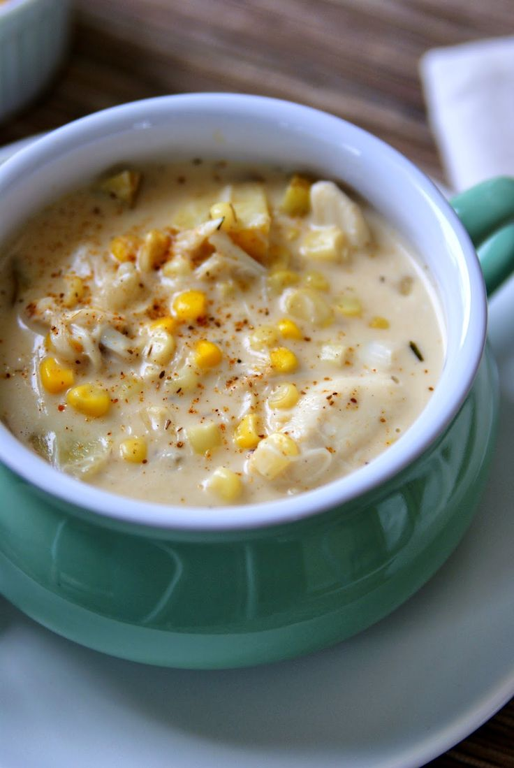 Crab and corn chowder. Pinning this for the upcoming cold weather ...