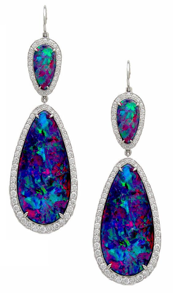 Platinum, Black Opal and Diamond Earrings from the Stephen Russell Collection.