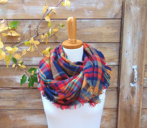 Plaid Scarf Plaid Oversized Blanket Scarf by JannysGirl on Etsy