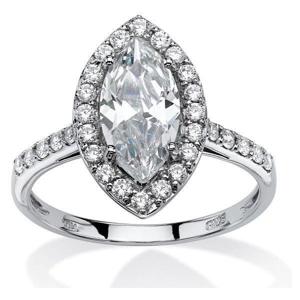 PalmBeach Jewelry 2.45 TCW Marquise-Cut CZ Halo Bridal Ring (€180) ❤ liked on Polyvore featuring jewelry, rings, jewelry & watches, white, bridal engagement rings, cubic zirconia rings, cz jewellery, bridal jewellery and unisex rings