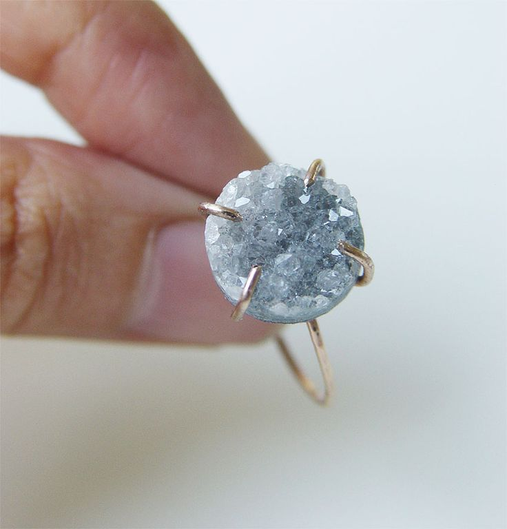 Gray druzy Ring OOAK Gold Filled by #friedasophie - www.friedasophie.etsy.com