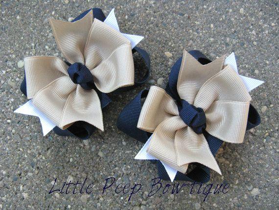 School Uniform pigtail bows navy blue Back To School girls hair bow clips khaki navy