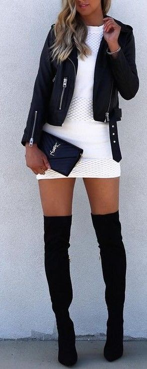 Knit Dress + Leather + Boots                                                                             Source