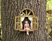 Fairy Garden Accessories Window with sitting girl and bird - miniature garden accessory - window for tree - fairy door window