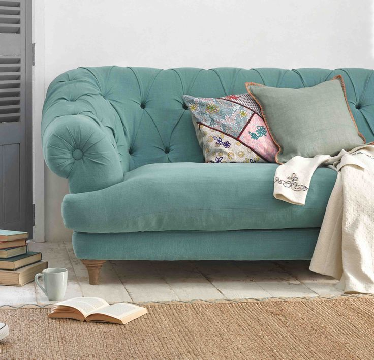 Add a splash of mustard & teal | Daisies & Pie Beautiful teal sofa from Loaf | Interiors with teal pop of colour