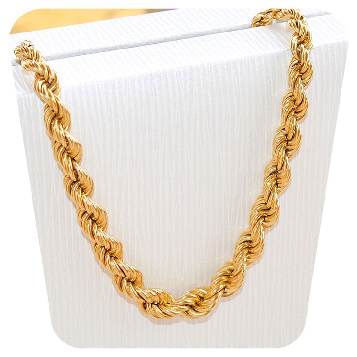 TRES BEAU COLLIER MAILLE CORDE EN CHUTE OR JAUNE 18 K CARATS 24,10 gr   REF / AA 978