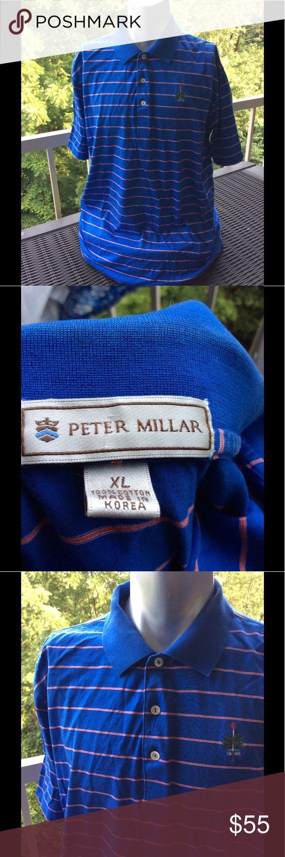 Peter Millar Blue Striped Polo Shirt XL Very popular Peter Millar polo shirt 👚 n striped blue with insignia. EUC. Size XL Peter Millar Shirts Polos