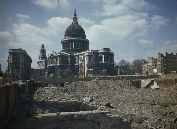 View of St Paul's Cathedral and the bomb damaged areas surrounding it in London. c.1944.