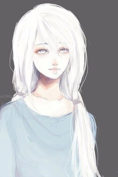 Anime woman with white hair