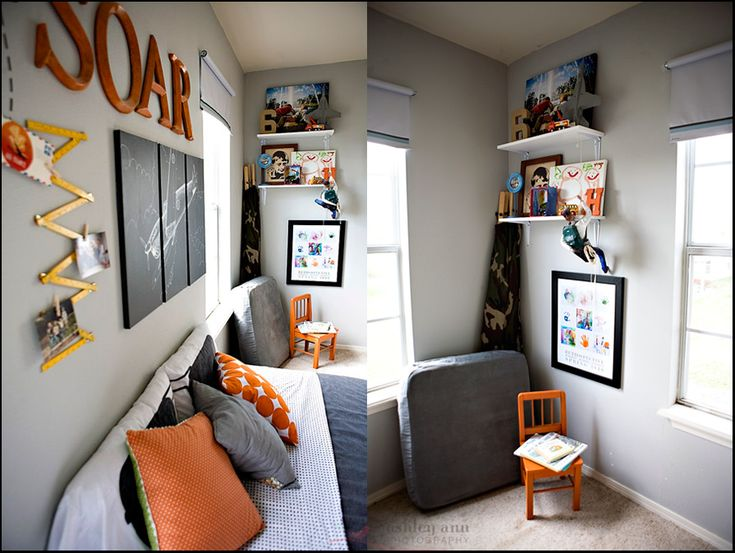 Idea for redecorating the boys rooms.  Love the gray with pops of color.  Very clean and simple.