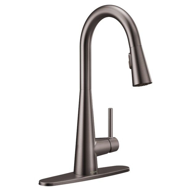 Sleek Black Stainless One Handle High Arc Pulldown Kitchen Faucet