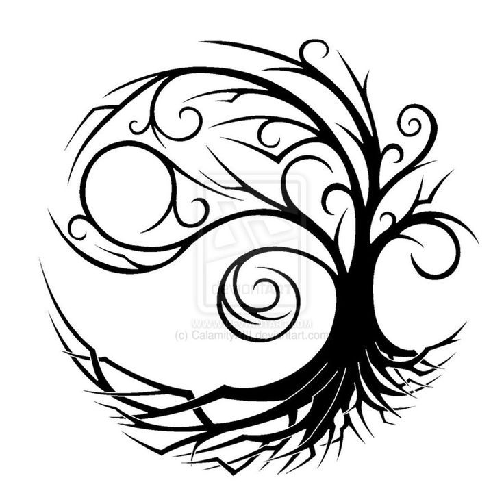 main picture - turned so wider part to the right. Less roots (just at base and slightly out to sides of tree - don't want end picture to form a circle like this one does) Tree trunk to incorporate celtic symbol so would not be solid colour