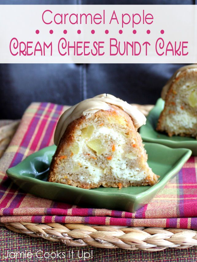 """Caramel Apple Cream Cheese Bundt Cake from """"Jamie Cooks It Up!"""" -maybe omit the carrots & double up on apples?!"""