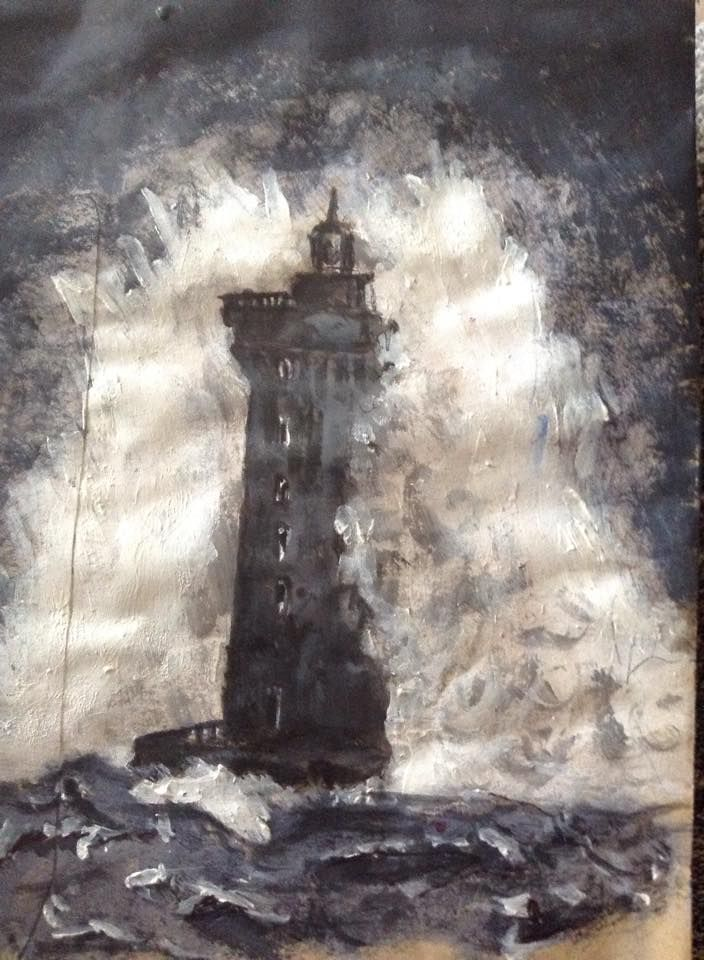 Lighthouse original artwork in Acrylic and biro by David Reid