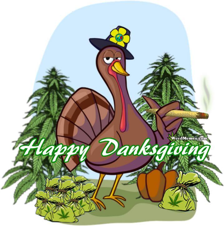 Happy Danksgiving Stoner Turkey Pot Farmer Smoking Weed Maryjane