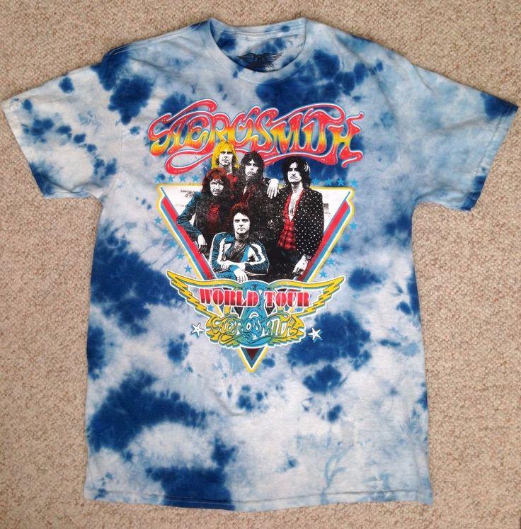 Retro AEROSMITH WORLD TOUR T-SHIRT Tie Dye Blue/White Vtg-Look READ SIZE INFO #BaileyApparel #GraphicTee
