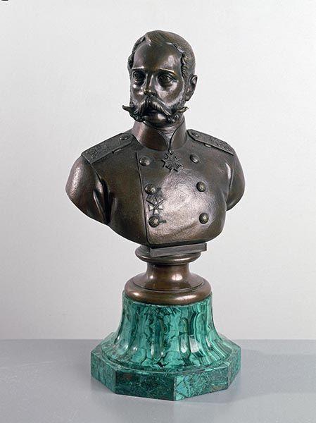 Ivan Kovshenkov, Portrait bust of Alexander II, Tsar of Russia, 1873, Hermitage Museum, Saint-Petersburg. #malachite #art #19thcentury #hermitage #museum #russia #stpetersbourg