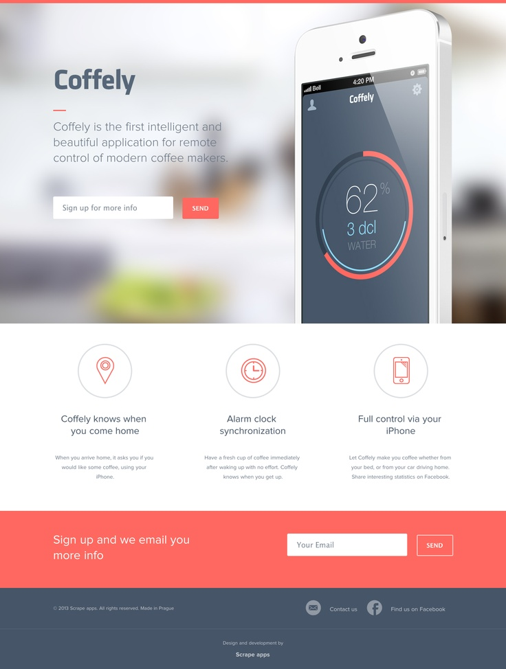 Coffely is the first intelligent and beautiful application for remote control of modern coffee makers.  http://www.coffely.com/  #apps #icon #flat