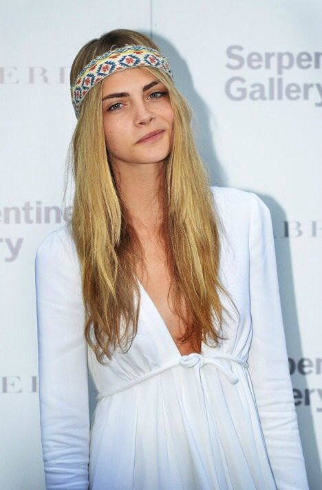 "Cara Delevingne ""bohemian"" inspiration #longhair #headpiece #white #neutral"