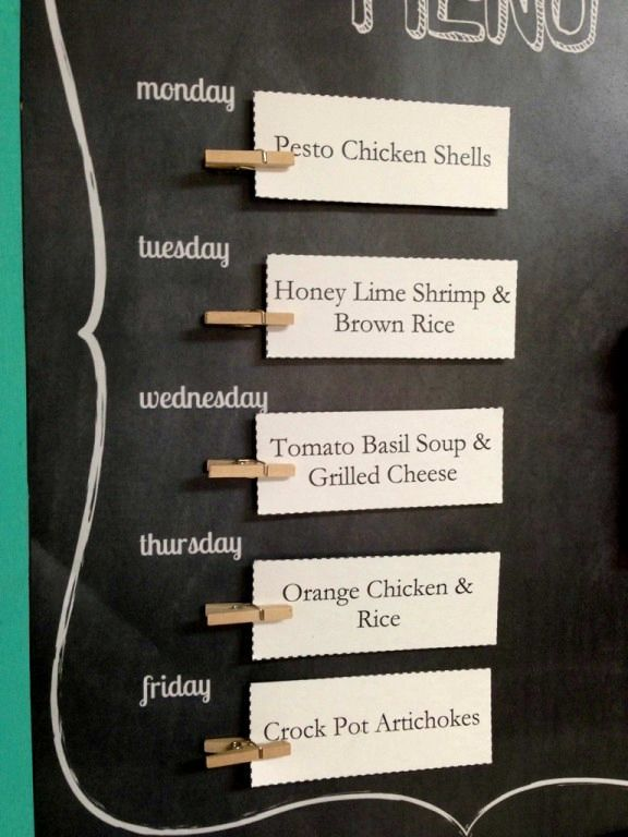 chalkboard dinner plans every week. Cards have recipe on the back