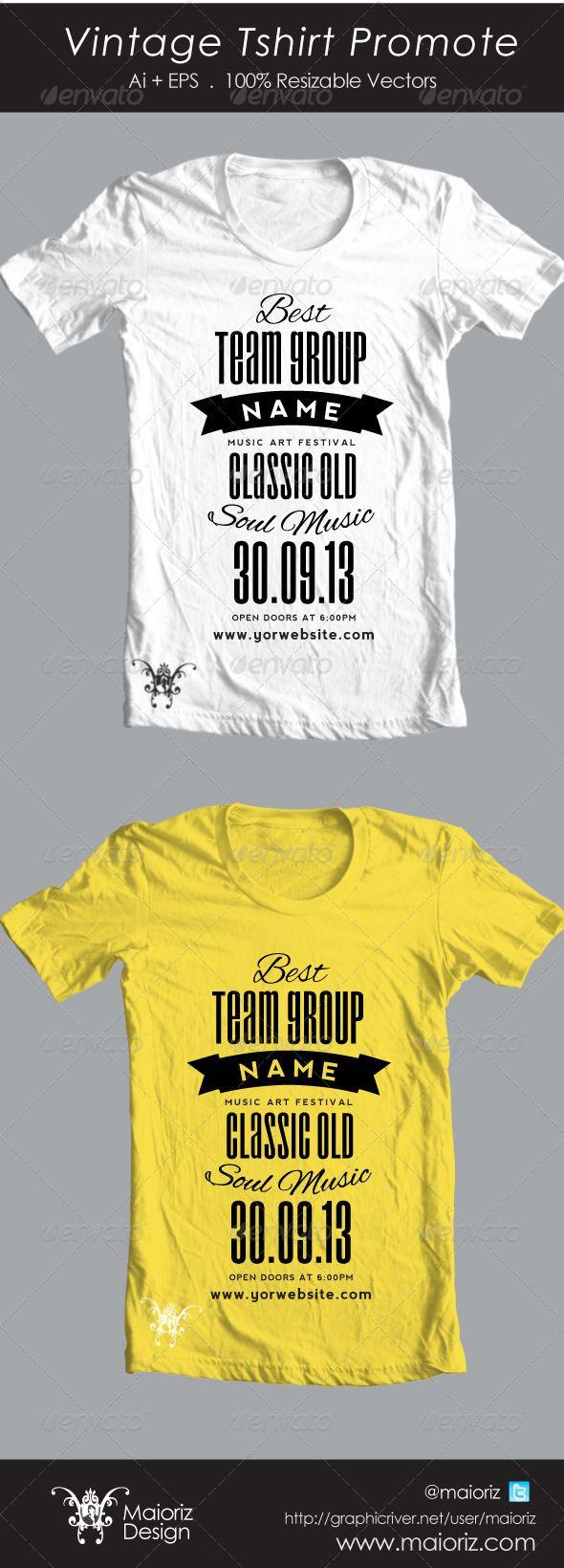 Shirt design template size - Vintage Promote Tshirt