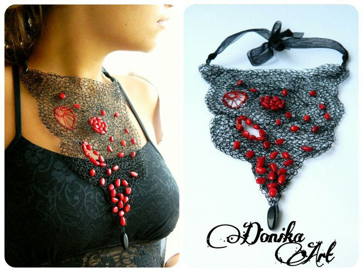 Crochet wire necklace & coral beads Donika Art