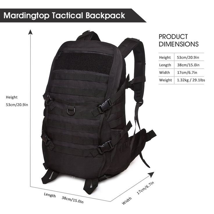 Mardingtop Tactical Backpack/Molle Backpack/Military Rucksacks/Military Bag for Shotting Hunting Camping Hiking Trekking Black. MATERIAL- 40 Liters. This tactical backpack is made of Water-resistant 600D polyester. If you want more big tactical backpack (50 Liter), you can please check this product B01LPJUP9K at our store. HYDRATION COMPARTMENT- This assault pack with hydration compartment and can hold a 2.5 Liter bladder, the tube is fed through the top of the bag near grab handle. Or it...