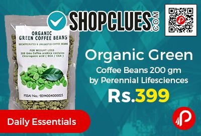 Shopclues is offering 10% off on Organic Green Coffee Beans 200 gm by Perennial Lifesciences at Rs.269 Only. Most innovative method of reducing body fat by means of the organic green coffee bean is already the world N1 alternative to diets and exercise.  http://www.paisebachaoindia.com/organic-green-coffee-beans-200-gm-by-perennial-lifesciences-at-rs-269-only-shopclues/