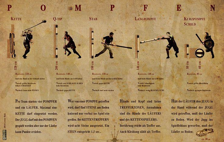 Pompfen und die dazugehörigen Jugger-Regeln http://jugger.de/downloads