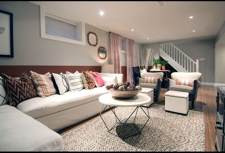 finished basement living area. finished basement living room