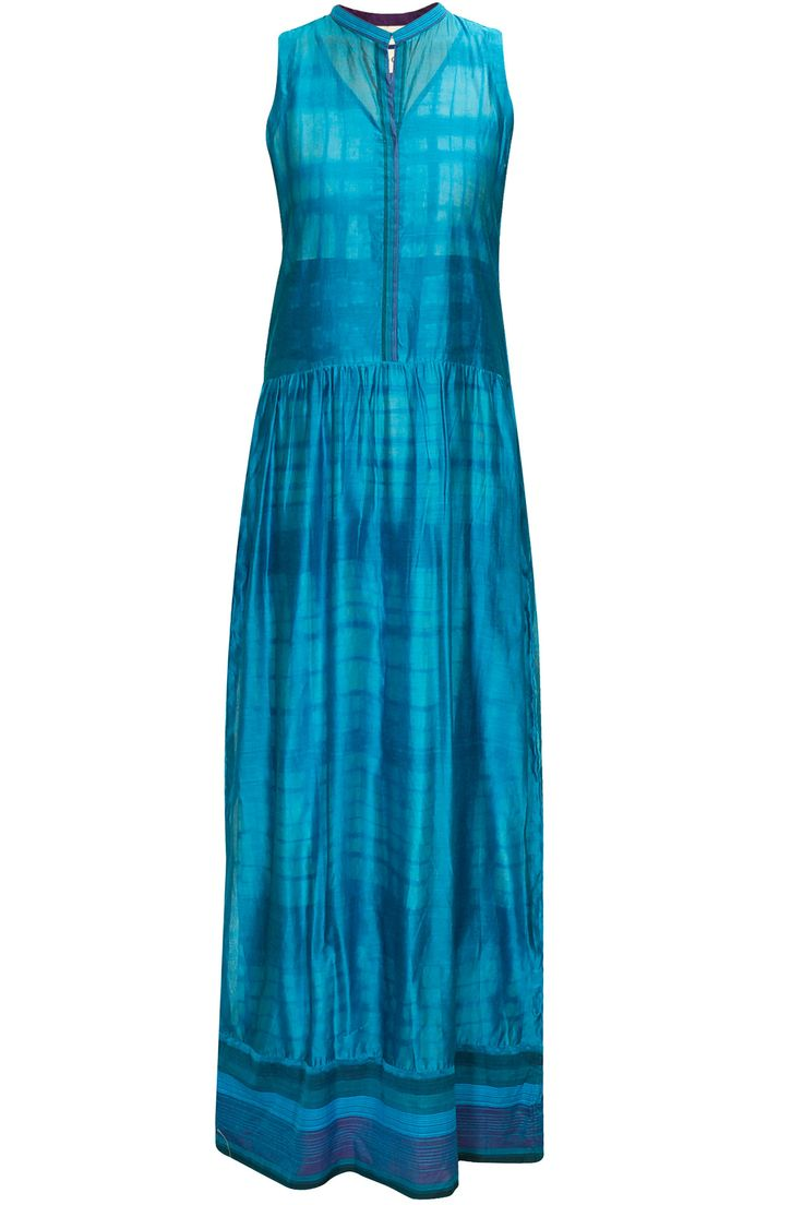 Indigo sleeveless long silk tunic with tye-dye slip available only at Pernia's Pop-Up Shop.