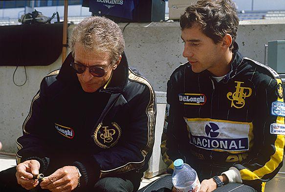 Gerard Ducarouge and Ayrton Senna, Lotus-Renault, 1986