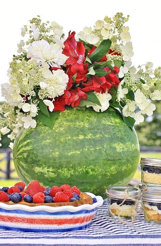 LOVE these 2 flowers in the watermelon vase. Hydrangea. Alstroemeria.