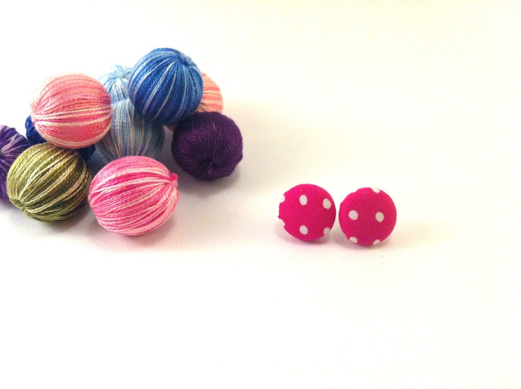 Fuchsia dots covered button earrings Get 1 pair of by Mariabuttons