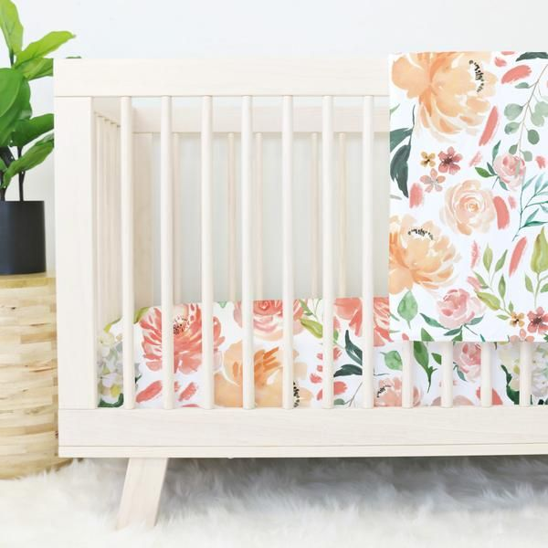 This is the ONE - Secret Garden Peach Watercolor Floral Baby Bedding