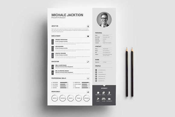3 Piece Resume Set by Whitegraphic on @creativemarket Professional, modern, stylish and creative resume design template for your new job. Use this simple ready to use layout – only add a picture, your profile and your skills – or grab some ideas.