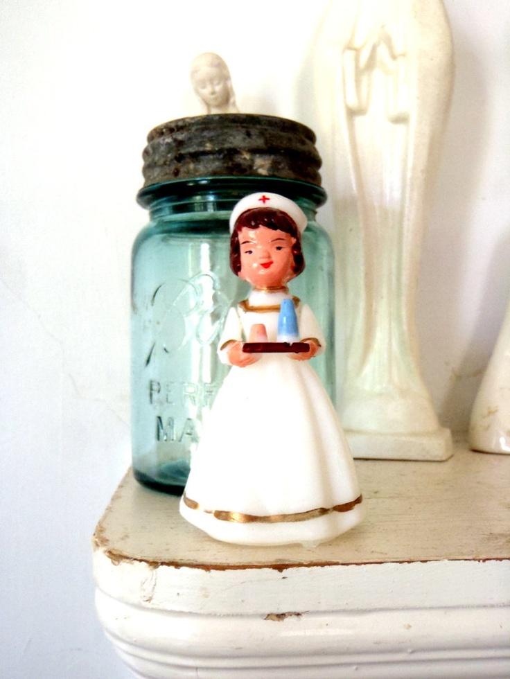 1960s Nurse Doll Vintage Cake Topper Red Cross Nurse. TheOrangeCollective on Etsy.